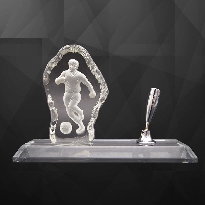 Football Crystal Paper Weight With Pen Holder - Football Crystal Paper Weight With Pen Holder