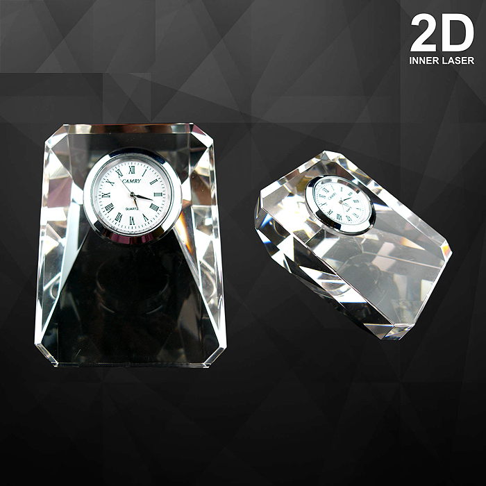 9083 - Crystal Paper Weight With Clock