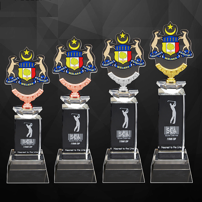 9264 - Exclusive Crystal Trophy With Acrylic Medal